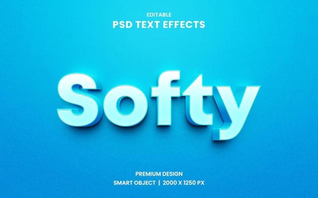 Estilo de efeito de texto 3d editável softy Psd Premium