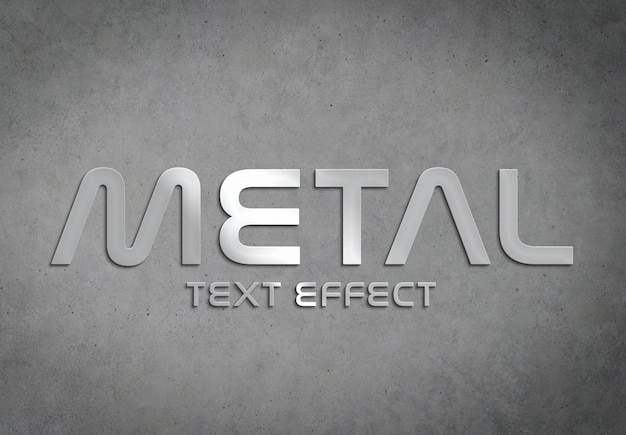 Estilo de efeito de texto de metal maquete