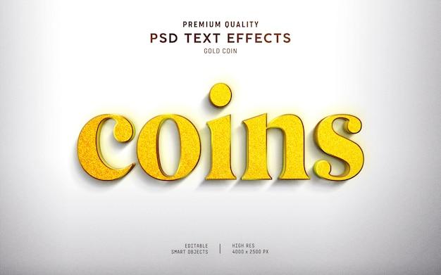 Estilo de efeito de texto de moeda de ouro 3d