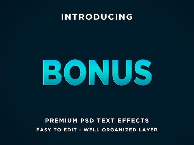 Estilo de efeito de texto editável azul bônus 3d