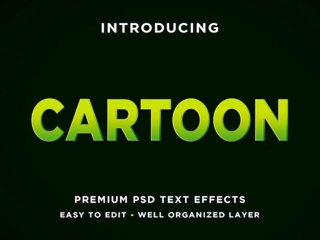 Estilo de efeito de texto editável verde dos desenhos animados 3d