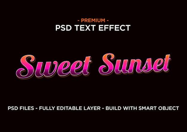 Estilo de efeito de texto. pôr do sol doce.