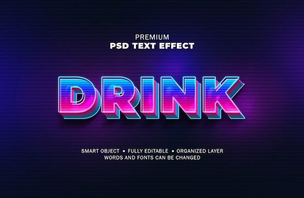 Estilo de efeito de texto retrô de gradiente de luz 3d