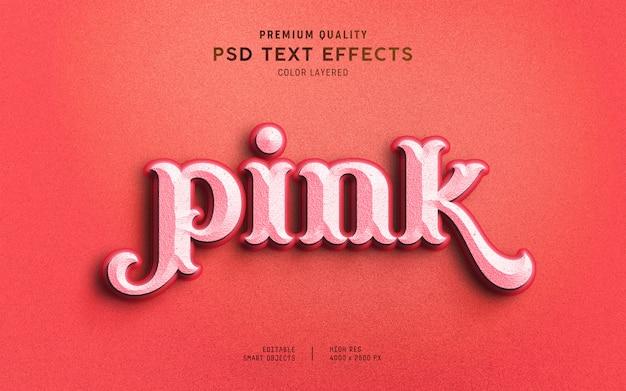 Estilo de efeito de texto rosa doce 3d