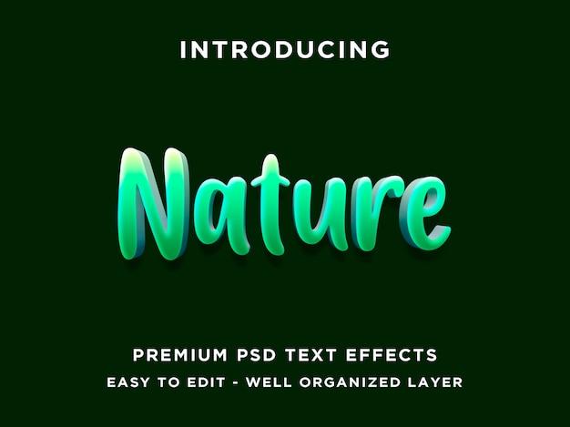 Estilo de efeito editável de texto verde natureza 3d