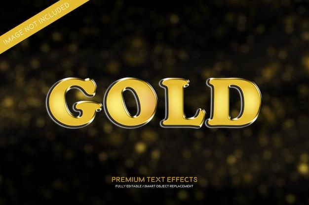 Estilo de efeitos de texto 3d em ouro
