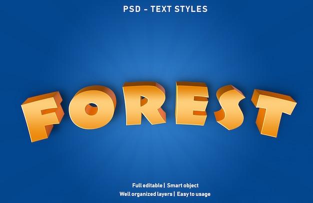 Estilo de efeitos de texto da floresta premium editável