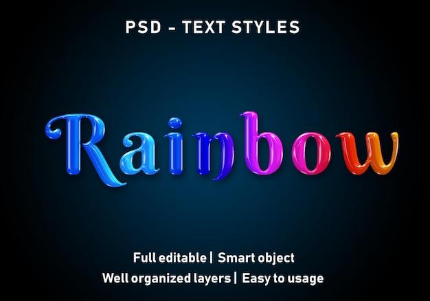 Estilo de efeitos de texto de arco-íris 3d