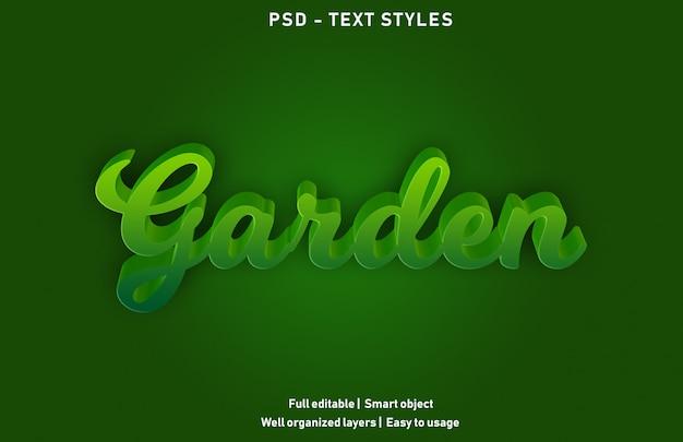Estilo de efeitos de texto de jardim premium editável