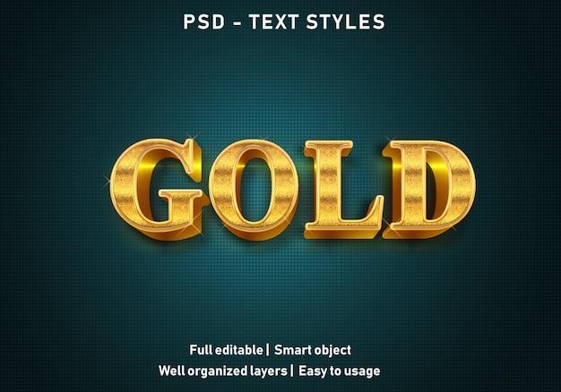 Estilo de efeitos de texto de ouro 3d
