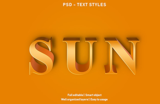 Estilo de efeitos de texto de sol premium editável