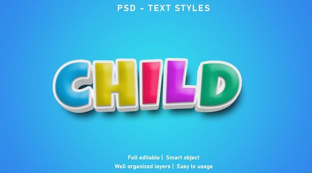 Estilo de efeitos de texto filho
