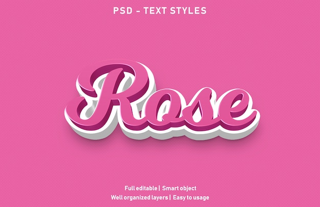Estilo de efeitos de texto rosa
