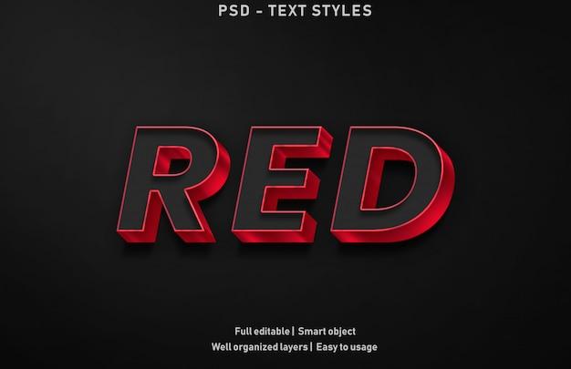 Estilo de efeitos de texto vermelho premium editável