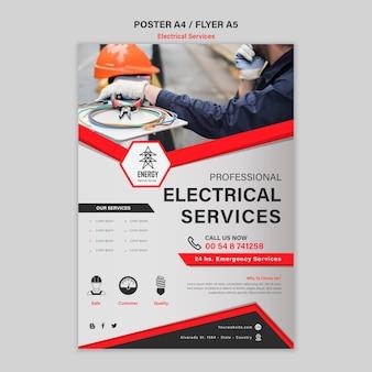 Estilo de folheto de serviços especializados em eletricidade