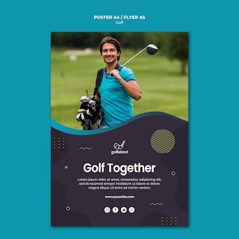 Estilo de folheto praticando golfe