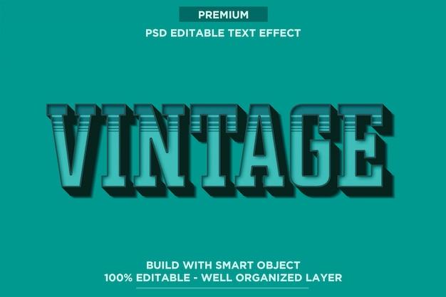Estilo de fonte 3d retrô vintage turquesa efeito de texto