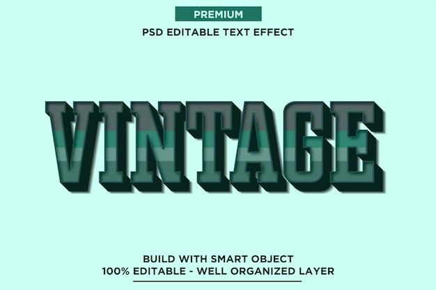 Estilo de fonte 3d retro vintage verde efeito de texto