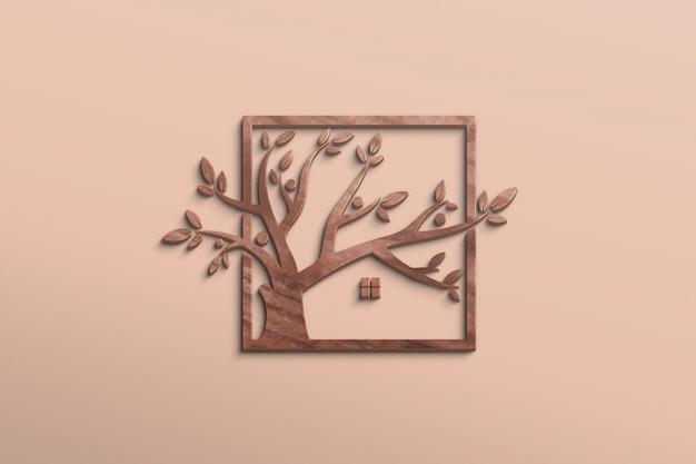 Estilo de madeira de maquete de logotipo 3d em uma parede