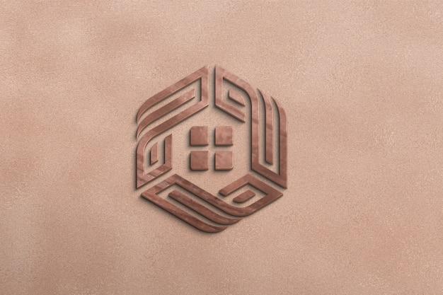 Estilo de maquete 3d logotipo de madeira na parede
