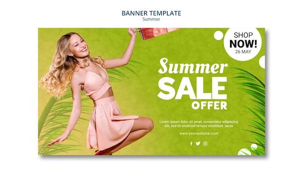 Estilo de modelo de banner de venda verão