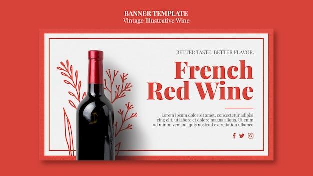 Estilo de modelo de banner de vinho francês