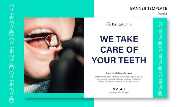 Estilo de modelo de banner horizontal de dentista