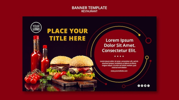 Estilo de modelo de banner para restaurante