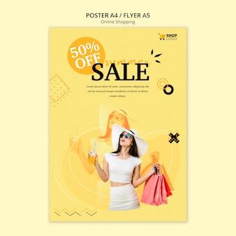 Estilo de modelo de cartaz de compras online