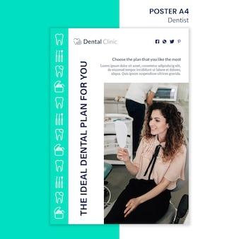 Estilo de modelo de cartaz de dentista
