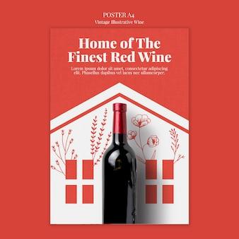 Estilo de modelo de cartaz de vinho