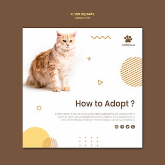 Estilo de modelo de folheto quadrado de adoção de animais