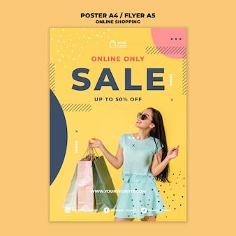 Estilo de modelo de panfleto de compras online