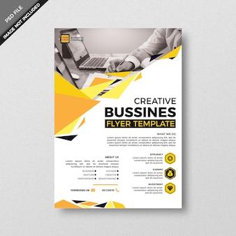 Estilo de modelo de panfleto de negócios criativo geometria amarela