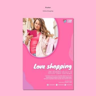 Estilo de modelo de pôster de compras online
