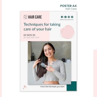 Estilo de modelo de pôster de técnicas de cuidados com os cabelos