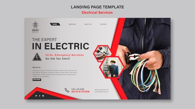 Estilo de página de destino de serviços elétricos