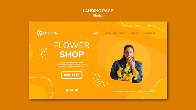 Estilo de página de destino do conceito de florista
