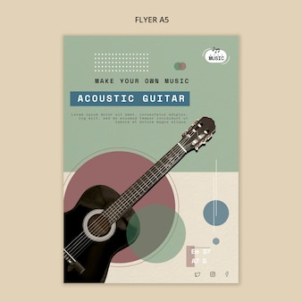 Estilo de panfleto de aulas de violão