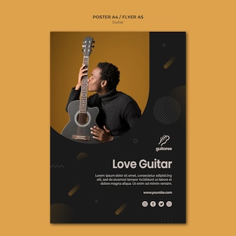 Estilo de panfleto de jogador de guitarra