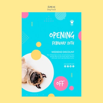 Estilo de panfleto para venda de comida de cachorro