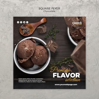 Estilo de panfleto quadrado de conceito de chocolate