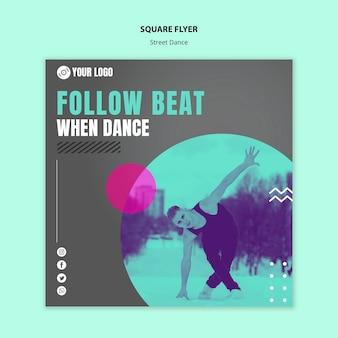 Estilo de panfleto quadrado de dança de rua