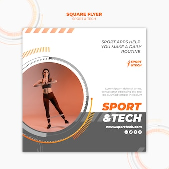 Estilo de panfleto quadrado de esporte e tecnologia