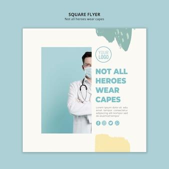 Estilo de panfleto quadrado profissional médico