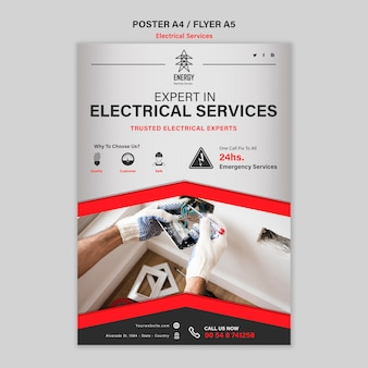 Estilo de pôster de serviços especializados em eletricidade