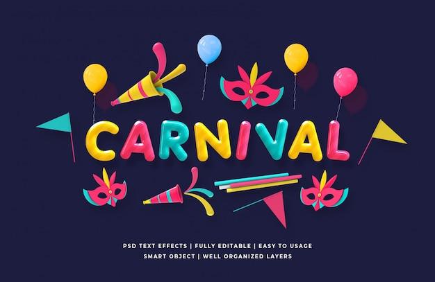 Estilo de texto 3d de carnaval
