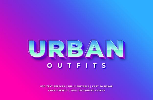Estilo de texto 3d de roupa urbana