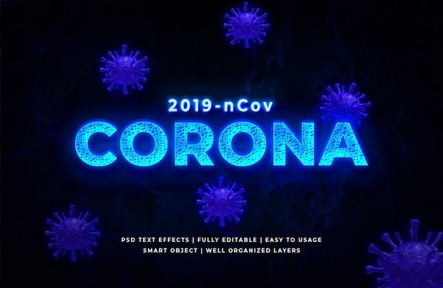 Estilo de texto 3d de vírus corona azul