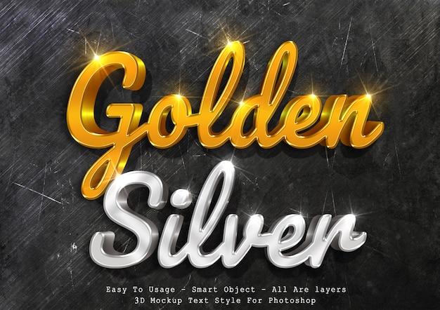 Estilo de texto 3d maquete ouro e prata